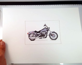 Harley Davidson Dyna Street Bob | Fine Art Print | Motorcycle Art | Motorcycle Illustration