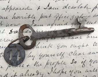 Collectible French Antique skeleton key with tag, French Keys, Old Skeleton Keys, Rustic Keys, French decor, french country house, castle