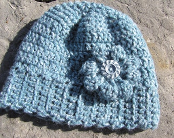 Hand Crocheted Baby Beanie with Crocheted Flower and Vintage Button -- Newborn to 3 Months Size
