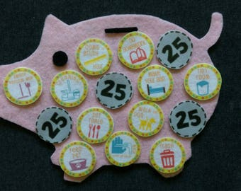 Chore Chart Piggy Bank Felt Set // Flannel Board // Counting // Responsibility //