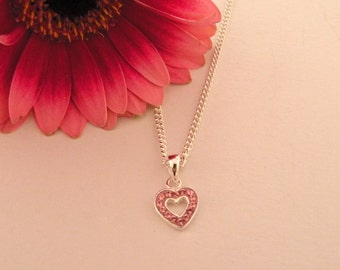 Girls/ladies pink crystal and sterling silver heart necklace