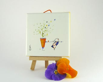 Painting on Tile,Miniature,Little Painting,Home decor,Poetic Painting,A Morpho Tale Painting,Orange and Butterflies Painting,Collection