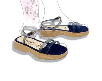 Delias 90s blue and white jelly sporty sandals!