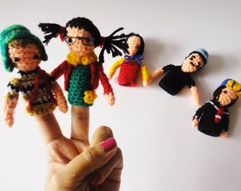 Finger puppets Chavo del 8, Crochet finger puppets for children, home accessory gift for kids, Waldorf toy, educational toys, gift baby toys