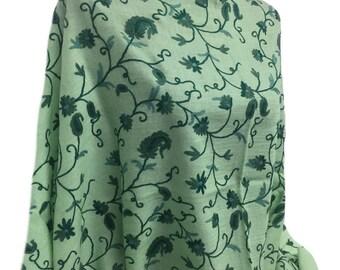 Green-Pashmina Collection-Premium Quality-Fine 100% Wool- Wool thread Embroidery-Made in India- Kashmiri-Pashmina-Shawl-Scarf-Wrap-Soft-Warm