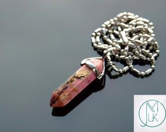 Rhodochrosite Crystal Quartz Point Pendant Natural Gemstone Necklace Chakra Reiki Healing Stone FREE UK SHIPPING