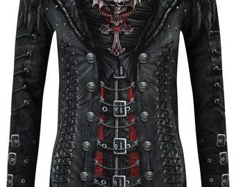 GOTHESS WRAP T Shirt Top Long Sleeve All Over Print Goth Emo Steampunk