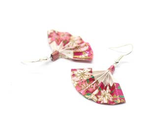 Gold origami fan and roses earrings - Japanese paper