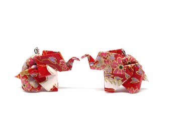 Red and white elephant Origami earrings Japanese paper