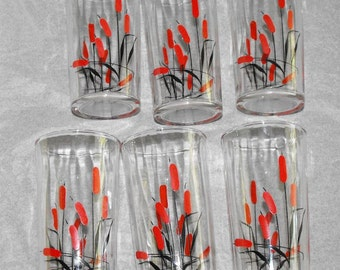 Vintage Cattail Flat Tumblers Rare Set of 6 Universal Potteries Style Near Mint As Made Condition
