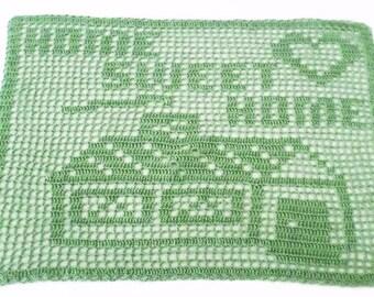 """PDF Instant Download Home Sweet Home Filet Crochet Pattern, Crochet Pattern, Doily, Housewarming gift, 17"""" x 12"""", size 10 crochet thread"""