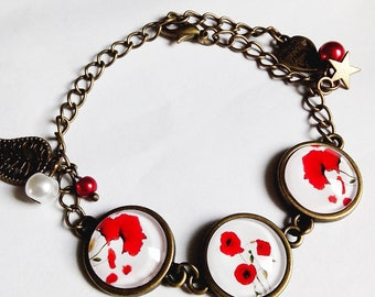 Bracelet cabochon * poppies * flowers spring summer red white glass cabochon