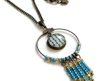 "bohemian necklace bronze pearls and cabochon motif ""Scandinavian graphic"" gold green blue dreamcatcher, glass cabochons"