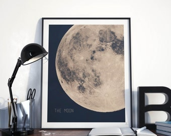 Full Moon Poster Giant Moon Print Astronomy Wall Art Dorm Wall Art Modern Wall  Art Blue