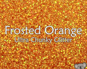 Chunky Frosted Orange Glitter Fabric A4 Or A5 Sheets Faux Leather For Bows & Crafts