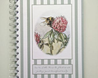 Notebook/Jotter/Planner Book, Bumble Bee with Stripes Design, Spiral Bound