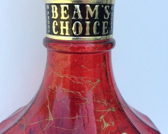 Jim Beam Liquor Bottle Vintage, Red with Gold Glass, Barware, Homedecor, Retro glassware,  Suncatcher