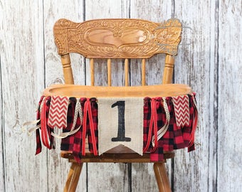 Lumberjack Burlap High Chair Banner, Lumberjack First 1st Birthday, Woodland First 1st Birthday, Winter Onederland, Camping, Hunting