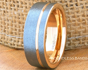 Tungsten Mens Wedding Bands Brushed Polish Satin Finish Comfort Fit Unisex Tungsten Ring Handmade Promise Anniversary Engagement 8mm Ring