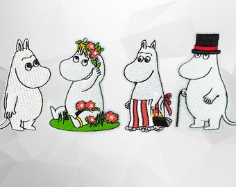Moomins Cartoon Characters Iron on Patch(M) - Moominmamma, Moominpapa, Moomintroll, Snorkmaiden Applique Embroidered Iron on Patch