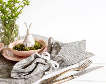 Grey Cloth Napkins set of 6 made of striped grey pure linen - Dinner napkins