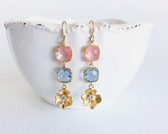 Long Gold Flower Dangle Earrings, Peach Pink and Light Blue Flower Drop Earrings, Bridal Wedding Chandelier Earrings