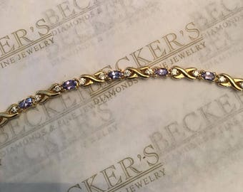 "Vintage 14k yellow gold Oval Tanzanite and Diamond Curvy X Link Bracelet, 2.86 tw, HI-I1, 6.8"""