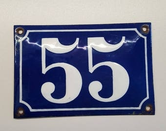 Antique French enamel HOUSE DOOR NUMBER Blue and white 55