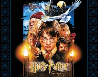 "Harry Potter - Sorcerer's Stone Poster Black Panel / 36"" Quilt Panel"