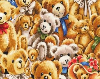 Bears Fabric / Bear Hugs Tossed Fabric / Teddy Bear Fabric / Fabri-Quilt 112-29401  / Fat Quarters and Yardage