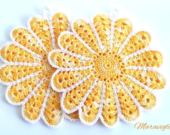 Crochet Potholders, Crocheted Potholders, Yellow Potholders, Flower Pot Holders, Kitchen Decor