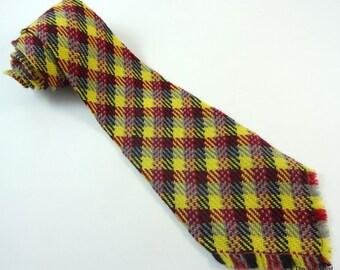 Vintage 1970s Wide Wool Tie Apache Hand Loomed Necktie with Fringe