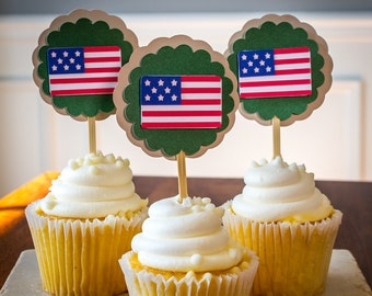 Army Military Party Cupcake Toppers