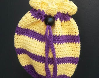 Crocheted Purse Bag Dashing Drawstring Hand-Crocheted Cross Body Cottoe Tote Bag Purple Yellow