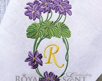 Machine Embroidery Design Blank Monogram Violets