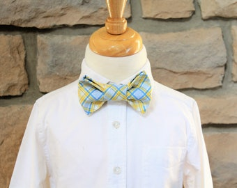 Little Boys Blue and Yellow Plaid Bow Tie, Boys Ties, Boys Bow Ties, Yellow and Blue Plaid, Easter Tie, First Communion Tie, Wedding Tie