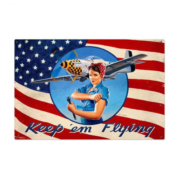 Rosie The Riveter Keep Em Flying Patriotic Pin Up Girl art on