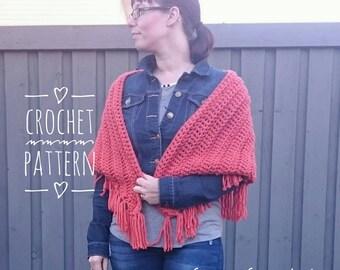 Crochet PATTERN - Fall Fringe Shawl, Shawl, Crochet Shawl, Bandana Scarf, DIY, Ladies Shawl, Crochet Scarf, Digital Download, PDF Pattern