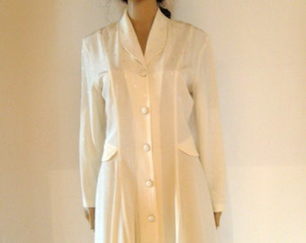 MARIZOSA Button Front Ivory Rayon Dress S-M Excellent