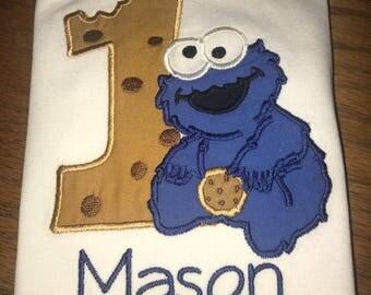 Boys Sesame Street Cookie Monster Cookie Number Birthday Shirt Or Bodysuit- Ages 1-2 , Custom Birthday Number Top