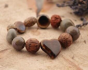 Ceramic Bracelet Chunky Bracelet  Exotic nuts seeds Bracelet Boho Bracelet Bold Bracelet natural organic seeds Elastic Stretch Bracelet