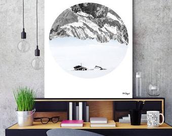 "Nordic art, circle print, scandinavian poster, minimalist art, nordic design, monochrome decor, black and white art, nordic decor  ""Nowhere"""