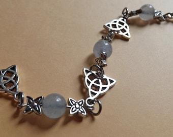 Bracelet Celtique Triquetra et Aigue Marine Bleue