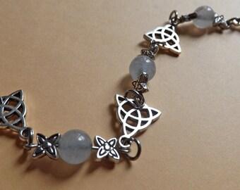 Triquetra and Aquamarine Blue Celtic Bracelet