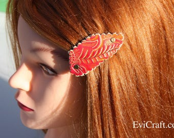 SALE - Handmade red Leather French hair barrette, Leather Hair clip, women Hair Accessory, embossed flowers gold hair accessory Evicraft