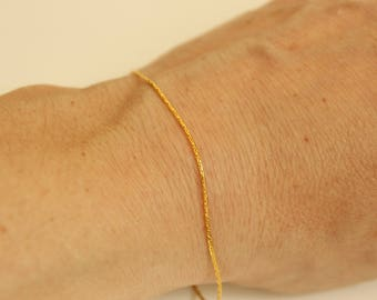 Simple dainty gold stacking bracelet, gold plated