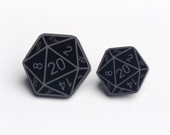 D20 dice pin badge - D20 Lapel Pin Brooch - Dungeons And Dragons Tabletop Gaming Pin - Black Two Pack (PIN0001)