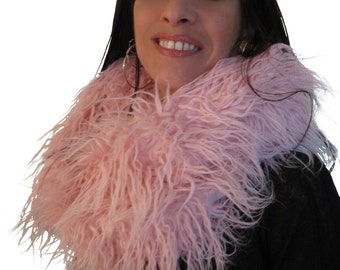 "Infinity scarf ""Pinky"", fur neck warmer, circular stole,  tube cowl scarf, faux fur scarf, fluffy snood."