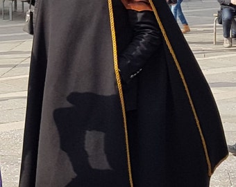 Black hooded cloak - Medieval knight cloak - elven cloak - cloak with a hood - cosplay - LARP