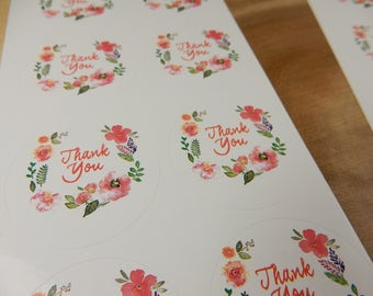 Thank You Bag Seals, Thank You Stickers, Floral Adhesives